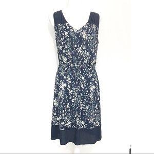LOFT Floral Split Neck Tie Waist Dress Blue